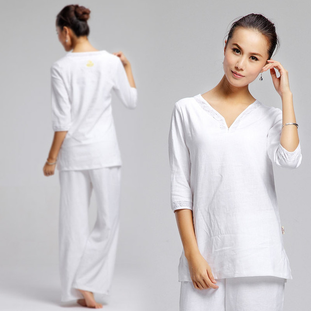 d9e63607f8af2 white Women's Kundalini yoga clothes set long yoga pants sleeve spring and  summer hot