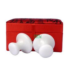 Traditional Acupuncture Massage Tool facial beauty natural white jade mushroom massager 2pcs/set