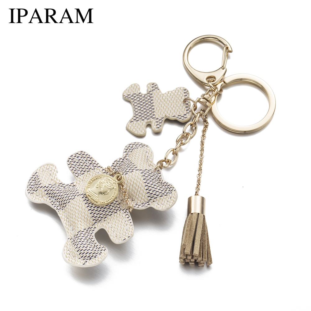 цена IPARAM 2018 New fashion!Key Chain Accessories Tassel Key Ring PU Leather Bear Pattern Car Keychain Jewelry Bag Charm в интернет-магазинах