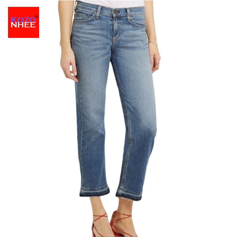 Casual Washed Ninth Straight Jeans Women Denim Fashion Loose Capris Jeans Slim Beggar Female Jeans Straight Pants flower embroidery jeans female blue casual pants capris 2017 spring summer pockets straight jeans women bottom a46