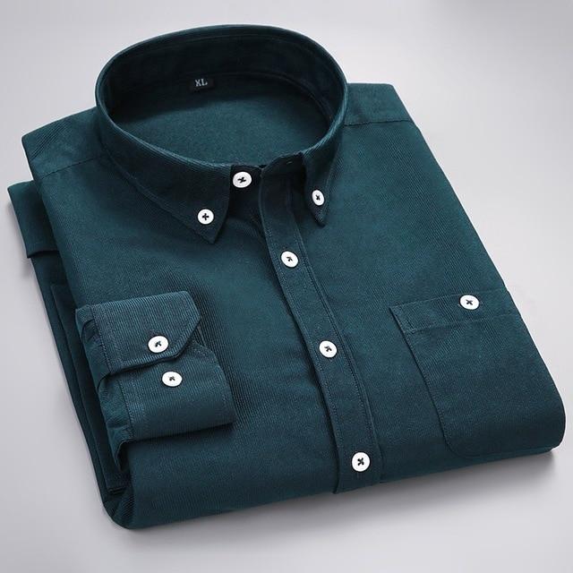 Mode velours côtelé chemise à manches longues velours chemise couleur pure loisirs printemps bonbons lumineux pouces chemise