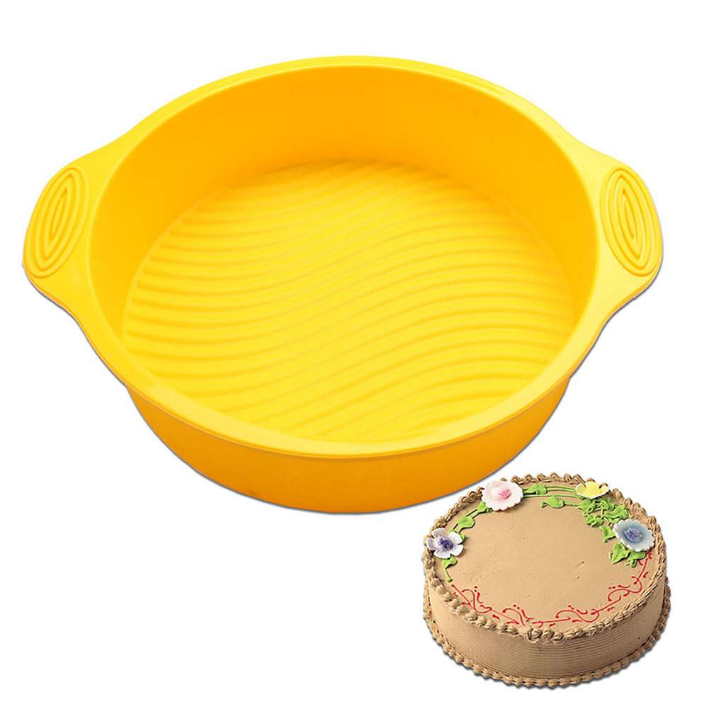 1 Pcs Round Silicone Cake Pan Mold Bakeware Bread Baking Non Stick High Heat Resistance For Microwave Oven In Kitchen Cabinet Parts