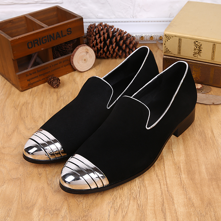 Black Nubuck Leather Mens Wedding Shoes Flat Men Dress Shoes Metal  Chaussure Homme Slip On Mocassin Men Loafers Casual Flats Men 20f151090804