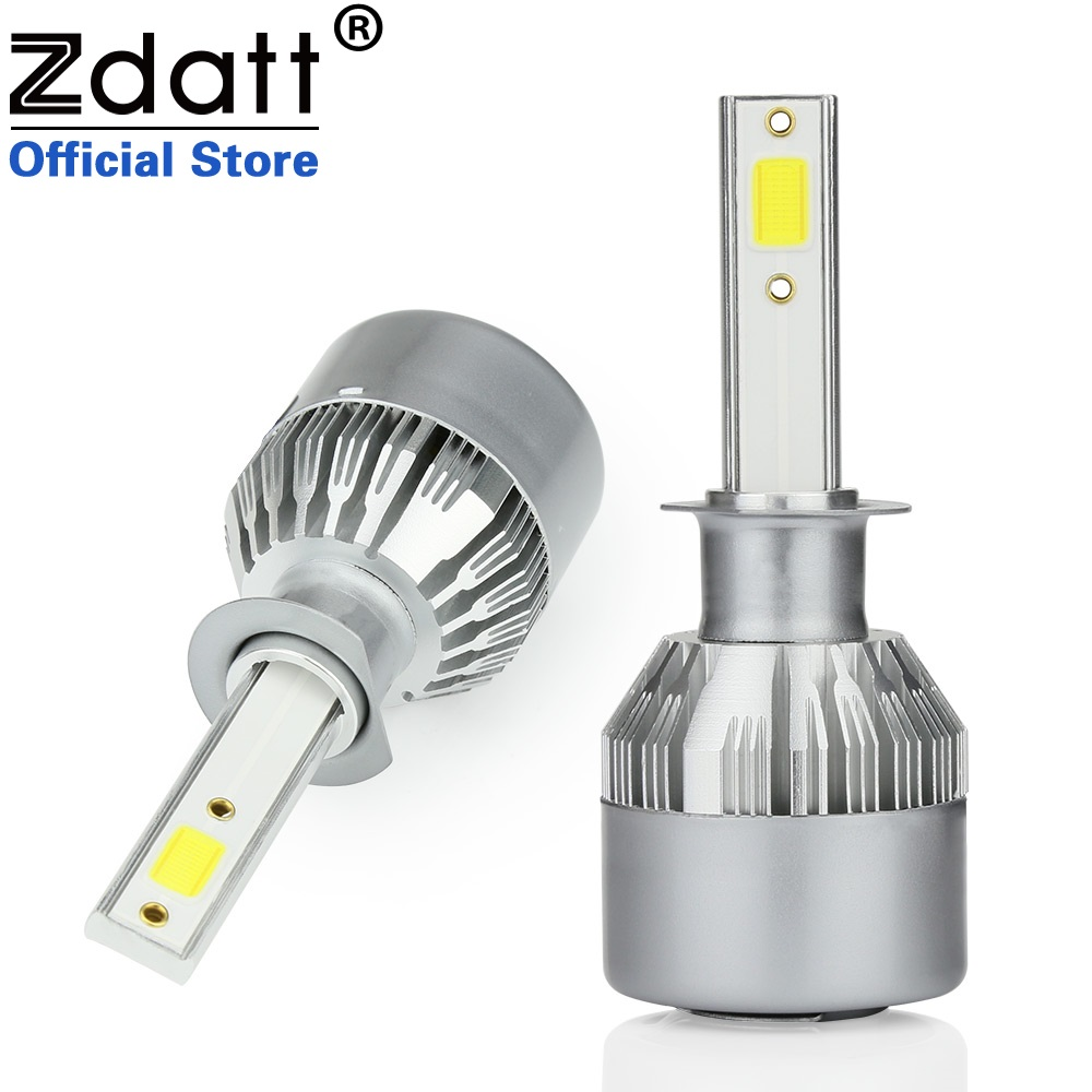 Zdatt 2Pcs Super Bright H1 Led Bulb 80W 8000Lm Headlights Car Led Light 12V 24V With Fans Automobiles