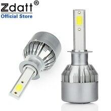 Zdatt 2 шт. супер яркий h1 светодиодная лампа 80 Вт 8000lm Фары для автомобиля Автомобильные светодиодные 12 В 24 В с вентиляторы автомобилей