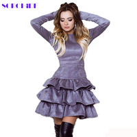 SORCHIDF Women S Ruffles Dress 2017 Autumn Winter Long Sleeve Cake Dresses Casual Mini Dress Ruffled