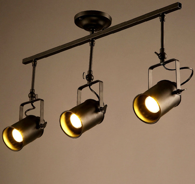 Vintage Iron Track Ceiling Light For Cloth Bar Cafe Metal Spot Track