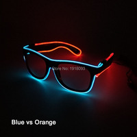 Multicolor EL Wire Glasses 20pieces with steady on Inverter Novelty Lighting Neon Cold Light Glasses for Party Decor