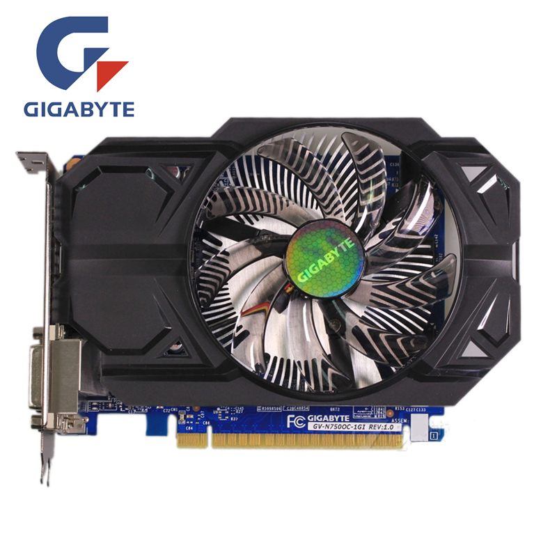 Gigabyte GTX 750 1 ГБ Графика карты gv-n750oc-1gi 128bit GDDR5 видео карты для NVIDIA GeForce GTX750 HDMI DVI используются VGA распродажа