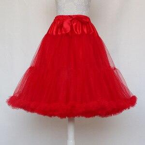 Image 3 - Lolita Petticoat Woman Short Underskirt Rockabilly Ruffle Tulle Black White Red Stock Puffy Tutu Skirt Cosplay Cocktail Dress