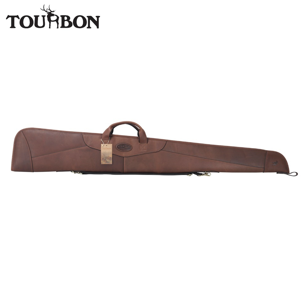 Tourbon Hunting Gun Case Genuine Leather Shotgun Slip Storage Fleece Padded Protection Carrier Shooting Gun Accessorries 137CM tourbon tactical rifle gun sling with swivels shotgun carrying shoulder strap black genuine leather belt length adjustable