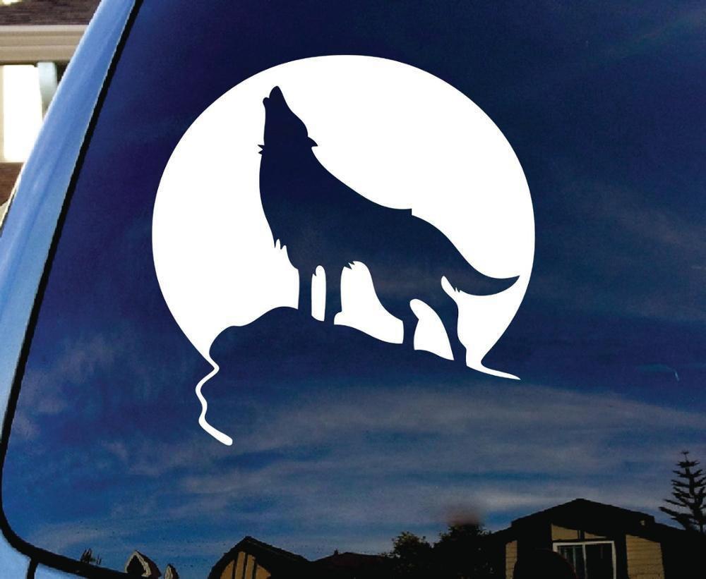 14cm Car Styling Howl Wolf Moon Stickers Car Cartoon ...  14cm Car Stylin...