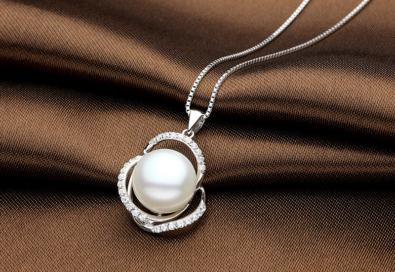 TZ10121WP silver pearl pendant necklace 2