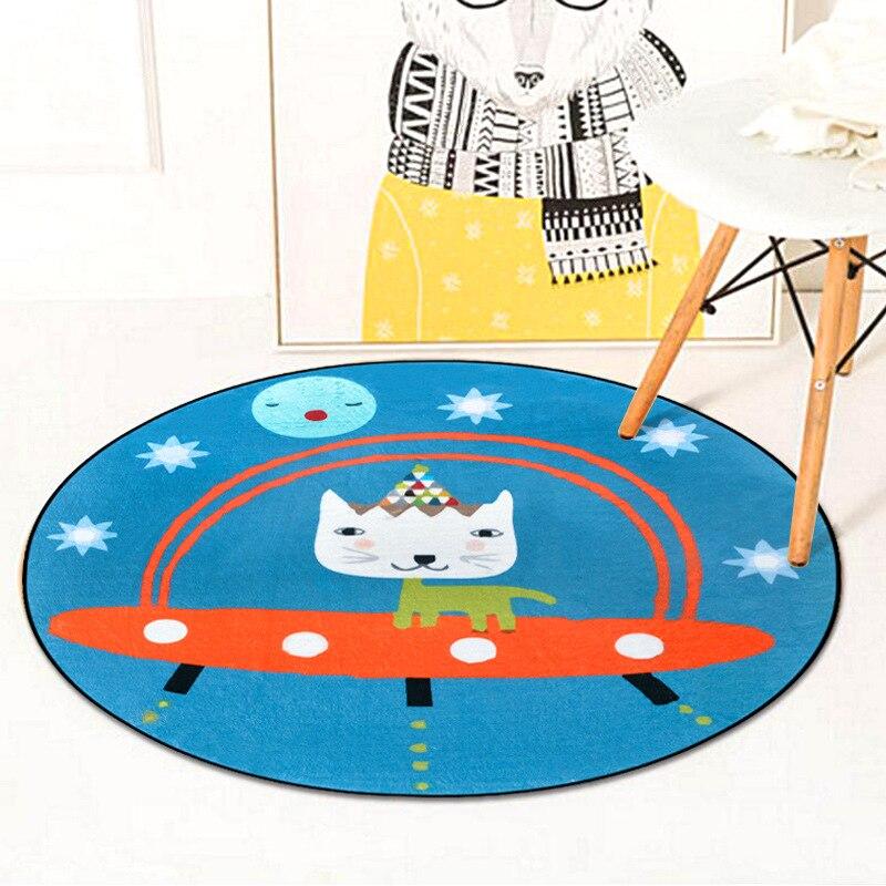 Cute Cartoon Mermaid Circle Soft Carpet Bedroom Living Room Home Decorative Round Kids Rugs Thicken Non-Slip Design Floor Mats 1