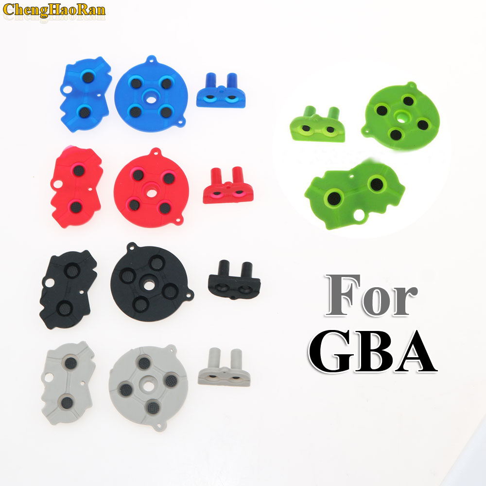 Image 2 - 120sets Blue Red Green For Game Boy GBA Advance Button Silicone Rubber Pad Conductive Contacts AB Select Start D pad-in Replacement Parts & Accessories from Consumer Electronics