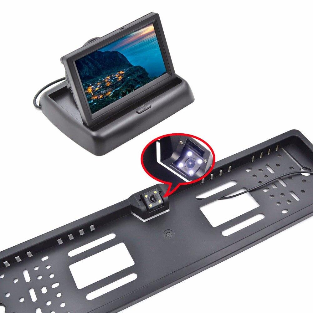 """4.3 """"monitor samochodowy tft lcd asystent parkowania RU europejska ramka do tablicy rejestracyjnej kamera tylna monitor samochodowy do auto"""
