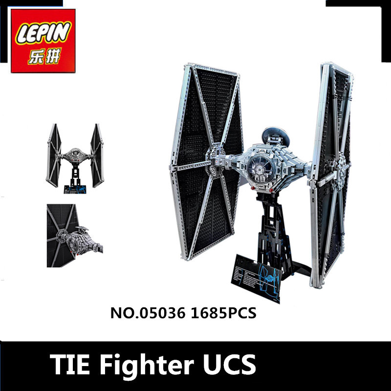 IN STOCK NEW 1685pcs Lepin 05036 Series Tie Fighter Building Educational Blocks Bricks Toys Compatible with 75095 lepin tie fighter 05036 1685pcs star series wars building bricks educational blocks toys for children gift compatible with 75095