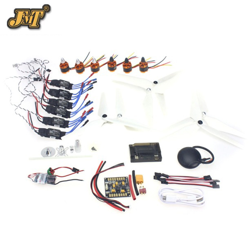 JMT 6-axis DIY GPS Drone Electronic:920KV Brushless Motor 30A ESC BEC Self-locking Propeller GPS APM2.8 Flight Controller f15276 a rc hexacopter aircraft electronic kit 700kv brushless motor 30a esc 1255 propeller gps apm2 8 flight control diy drone