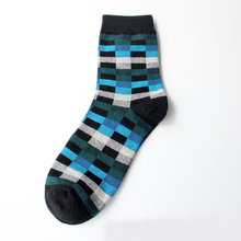 Новые мужские хлопковые носки Осень-Зима корейские классические клетчатые носки