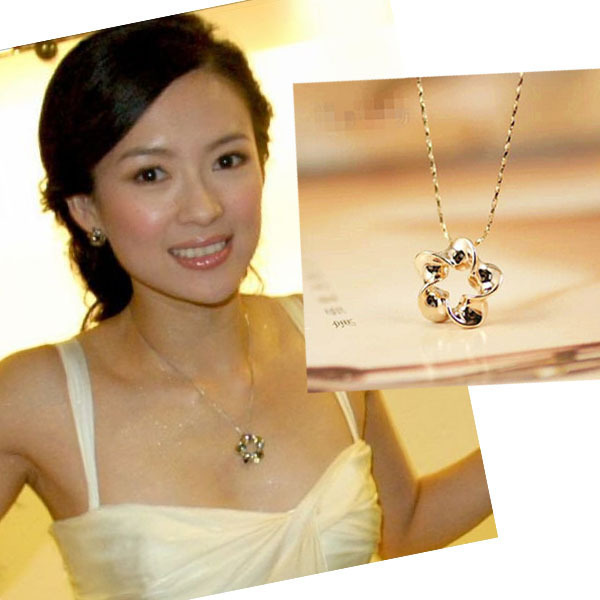 Genuine Zhang Ziyi Plum short necklace Korean rose Gold color chain