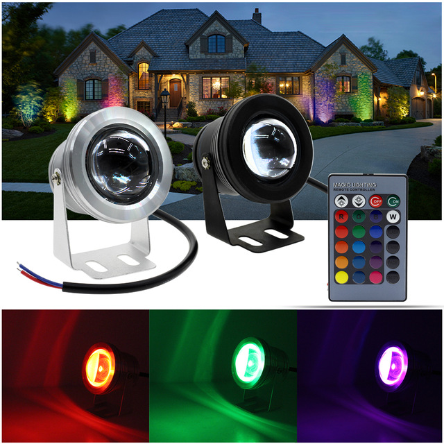 1pcs Black / Silver Color Case 10W Underwater LED Flood Wash Pool Waterproof Light Spot Lamp 12V Outdoor Free Ship