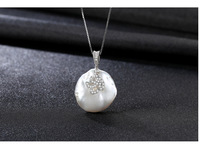 sterling silver necklace micro set 3A zircon natural pearl pendant LS01