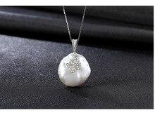 Серебряное ожерелье микро-комплект 3A Циркон натуральный жемчуг кулон LS01
