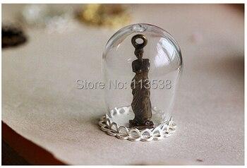 20sets 30*18 Clear Large Dome Cloche Glass Bottle Lace Pendant DIY Antique Bronze Base and Top Terra