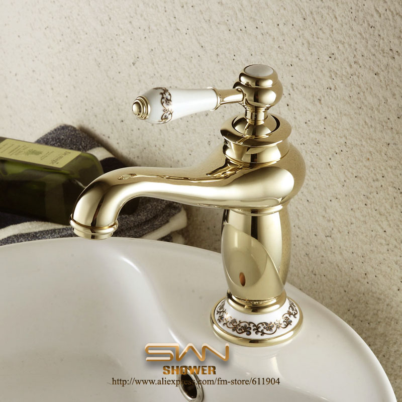 ФОТО Luxury Gold Color Artisitic Bathroom Faucet  Pattern Ceramic Basin Faucets Mixer Taps