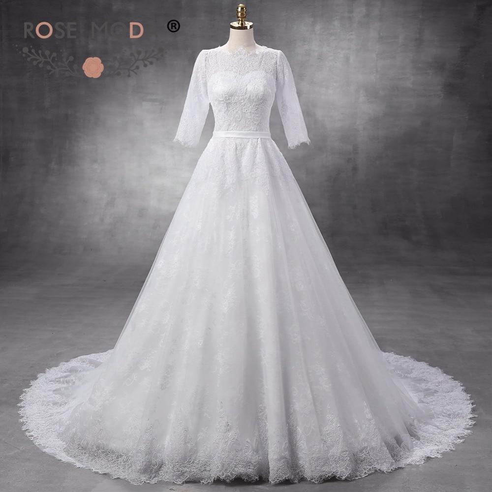 Rose Moda High Neck Chantilly Lace A Line Wedding Dress with Half ...