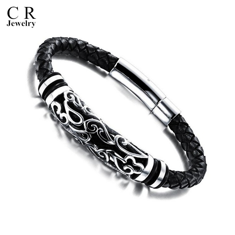 Mens Boys Black Leather Braided Wristband Bracelets Bangle Stainless Steel Clasp style 5 Jewelry