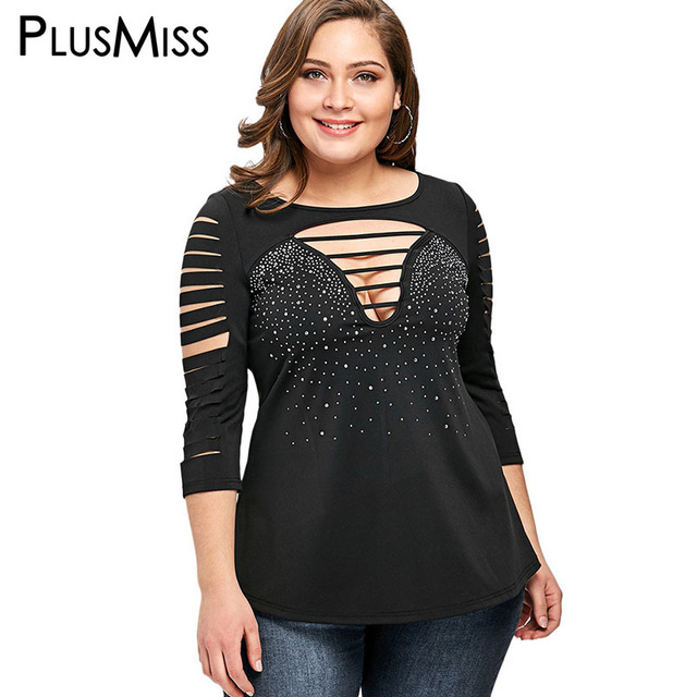 6475dbb61938 PlusMiss Plus Size 5XL Rhinestone Cut Out Ripped T-shirt Women Clothing Big  Sexy V Neck Lace Up T Shirt 2018 Top Tee large size