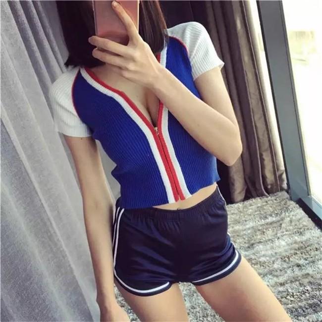 HTB1LmIQMVXXXXXNXVXXq6xXFXXXM - Glossy Shorts Slim Sexy Short Cotton Elastic High Waist Shorts For Women PTC 181