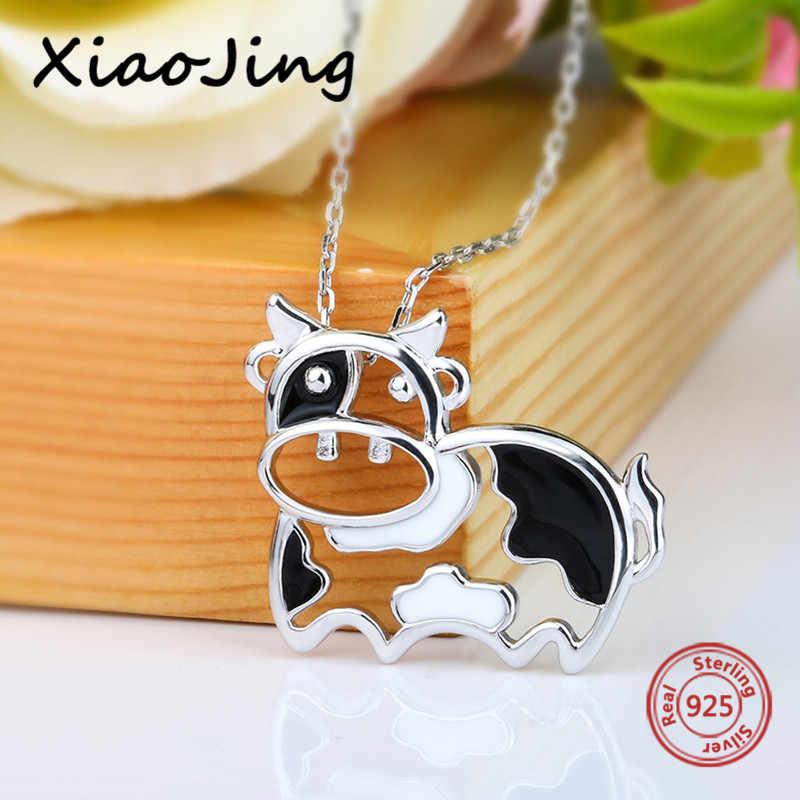 XiaoJing sıcak satış hayvan kolye 100% 925 ayar gümüş süt inek kolye kolye sevimli takı hediye için kız ücretsiz kargo