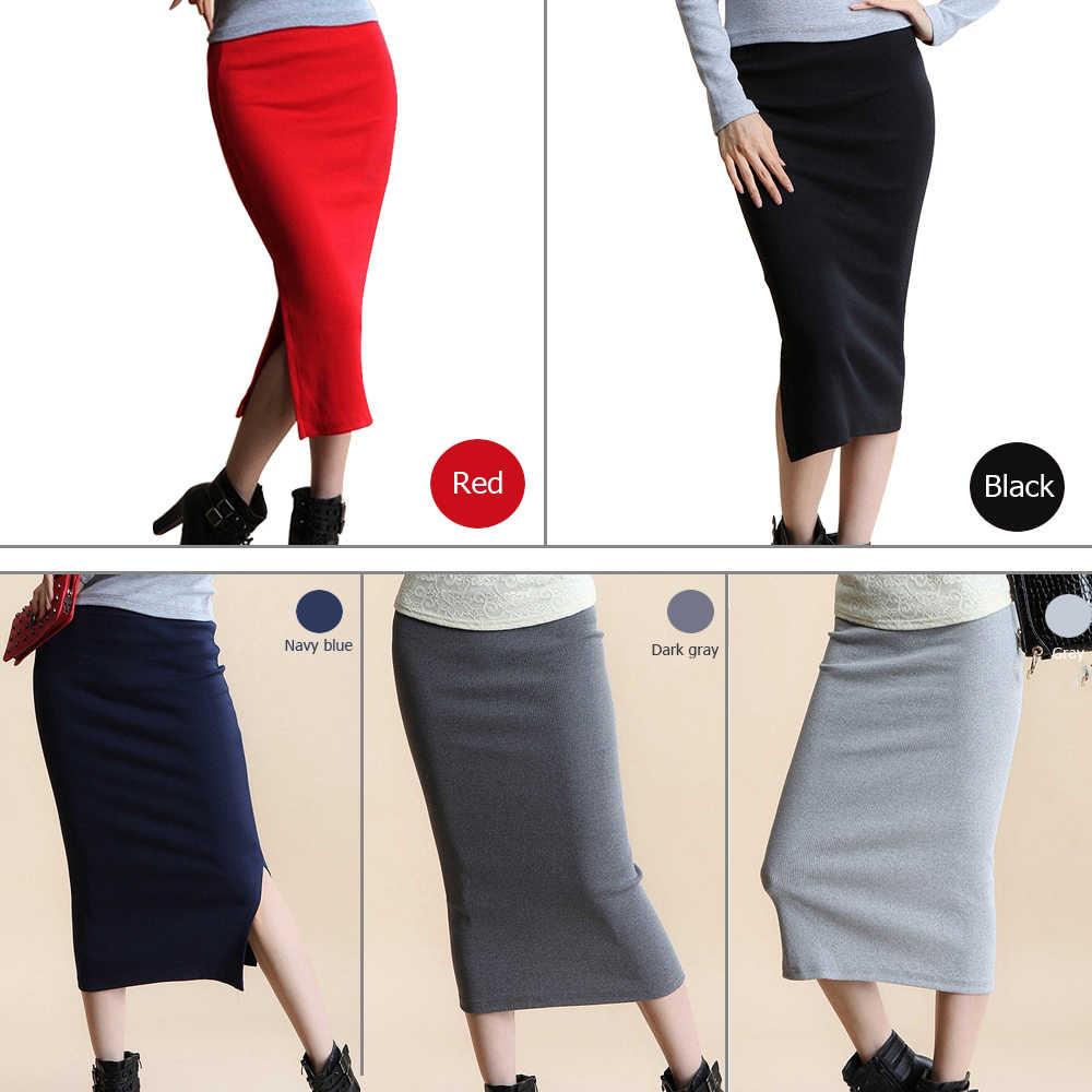 232266427 BEFORW Falda larga falda de moda de algodón de Color sólido faldas para  mujer Otoño Invierno falda Maxi 5 Color cintura alta elasticidad falda ...