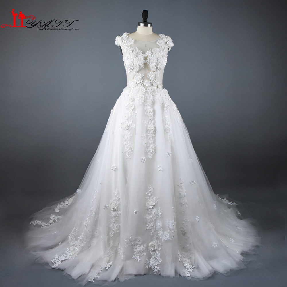 2017 New Arrival Handmade 3d Flowers Ivory Lace Puffy Sexy Arabic