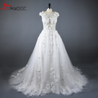 2017 New Arrival Handmade 3D Flowers Ivory Lace Puffy Sexy Arabic Vintage Amazing Wedding Bridal Dress China Online Shop