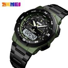 Для мужчин наручные часы Модные Спортивные кварцевые мужские часы, наручные часы SKMEI лучший бренд класса люкс Полный Сталь деловые водонепроницаемые часы Relogio Masculino