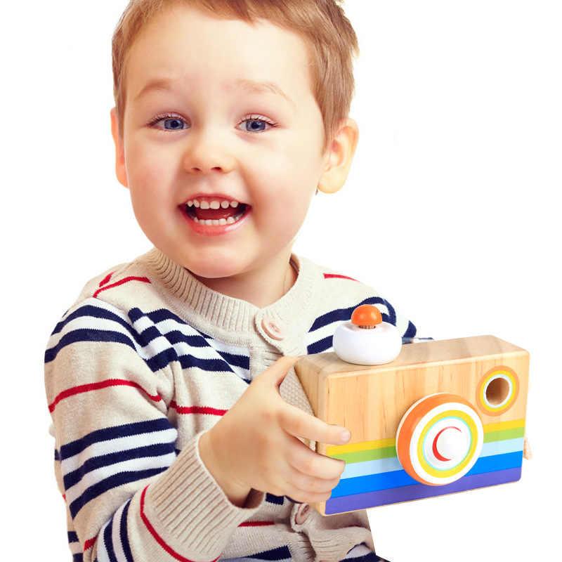 Детский фотоаппарат игрушка Мультяшные деревянные камеры Модель калейдоскоп детский Забавный игрушечный подарок SLR Камера мальчик девочка 2019