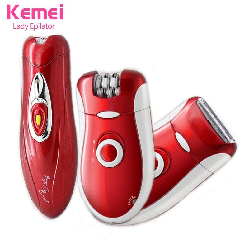 Kemei 3 in 1 Lady Epilator Rechargeable Wool Device Knife Depilatory Hair Removal High Efficiency Women Body Care EUPlug KM-3068 ontario knife rat 1