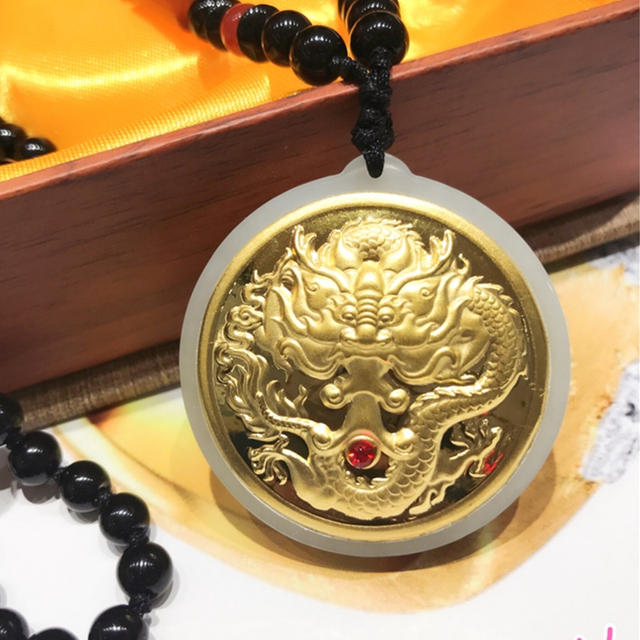 Dragon Jade Pendant For Men Round Classic Jade Pendant Necklace For Men Chinese natural High Quality