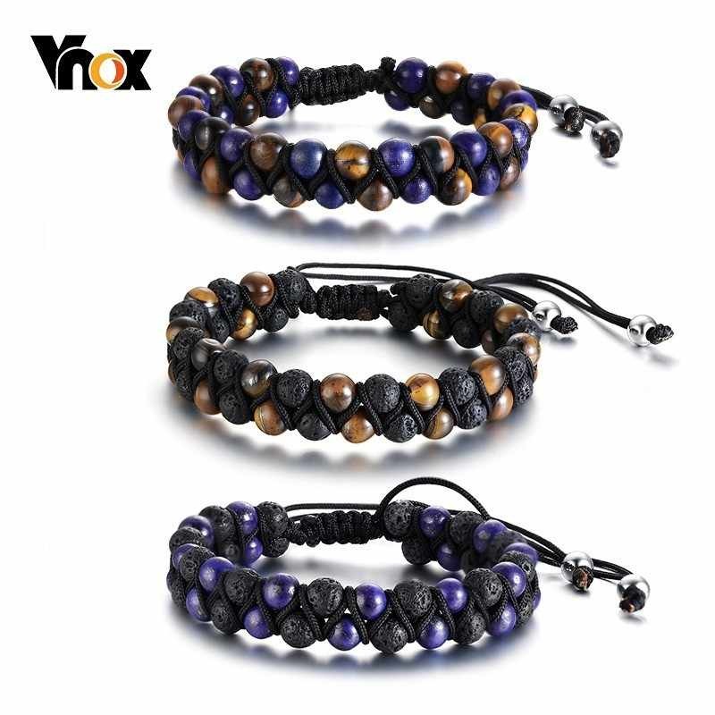 Vnox Vintage Braided Tiger Eye Stone Beads Bracelets for Men Woman Length Adjustable pulseira masculina Tribal Accessory