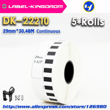 5 Refill Rolls Compatible DK 22210 Label 29mm*30.48M Continuous Compatible for Brother Label Printer White Paper DK22210 DK 2210