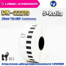 5 rouleaux de recharge compatibles étiquette de DK 22210 29mm * 30.48M continu Compatible pour imprimante détiquettes Brother papier blanc DK22210 DK 2210