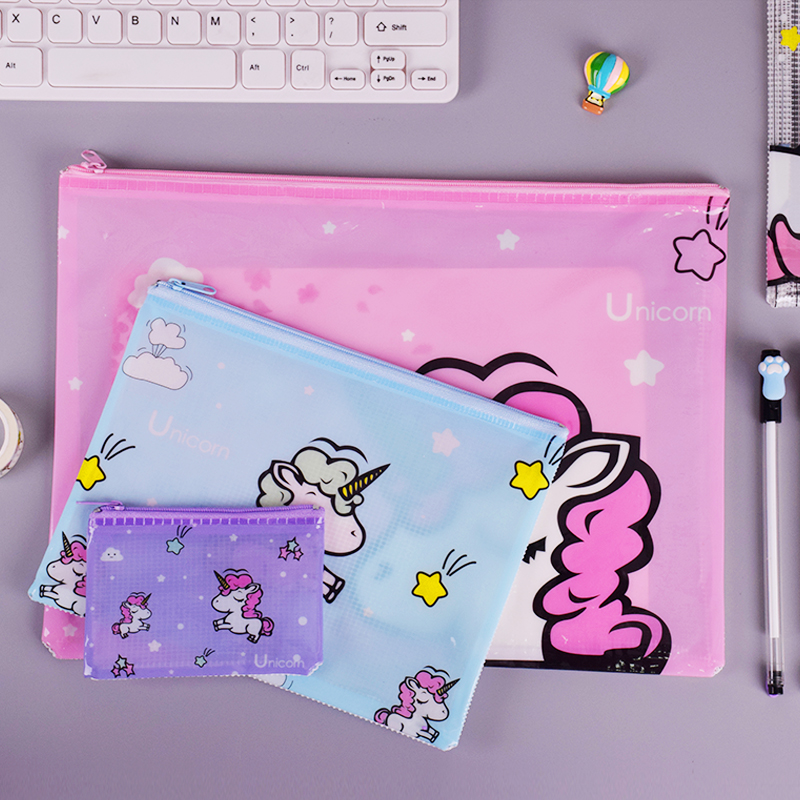 Cactus Strawberry Unicorn PVC File Bag Pencil Case File Folder Documents Filling Bag Office School Suppllies Stationery Bag