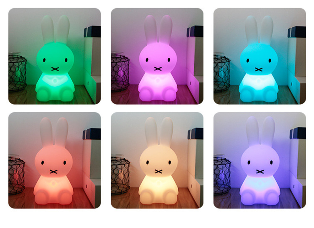 SuperNight Cartoon Rabbit LED Night Light Dimmable Rechargeable Touch Sensor Bedroom Bedside Table Lamp for Baby Kids Toy Gift (26)