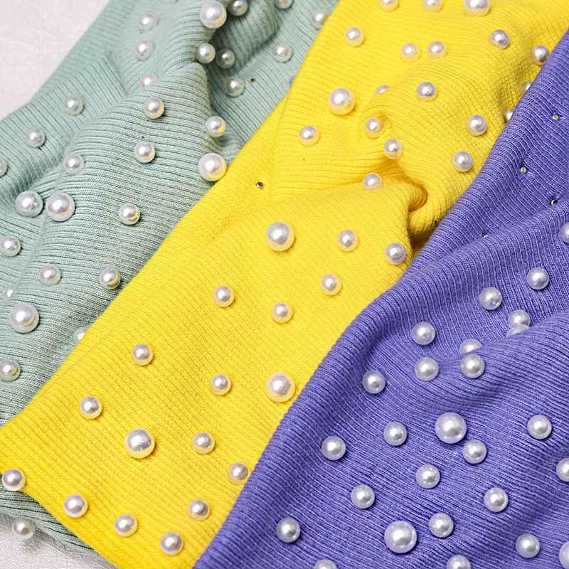 FASACC женские украшения для волос с жемчугом модные крестообразные ободок с бантом эластичные твист повязки на голову эластичные Hai Band женские модные головные уборы