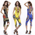 Women Africa Pattern Print Vintage Summer Sexy Tank Top Cropped Pants 2 Pieces Set