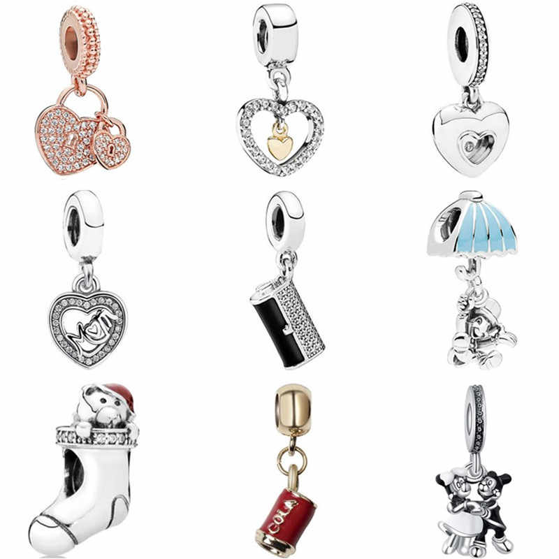 New Fashion Luxurious Bear Sock Butterfly Ferry Dog Heart Minnie Pendants Fit Original Pandora Charms for Women DIY Jewelry