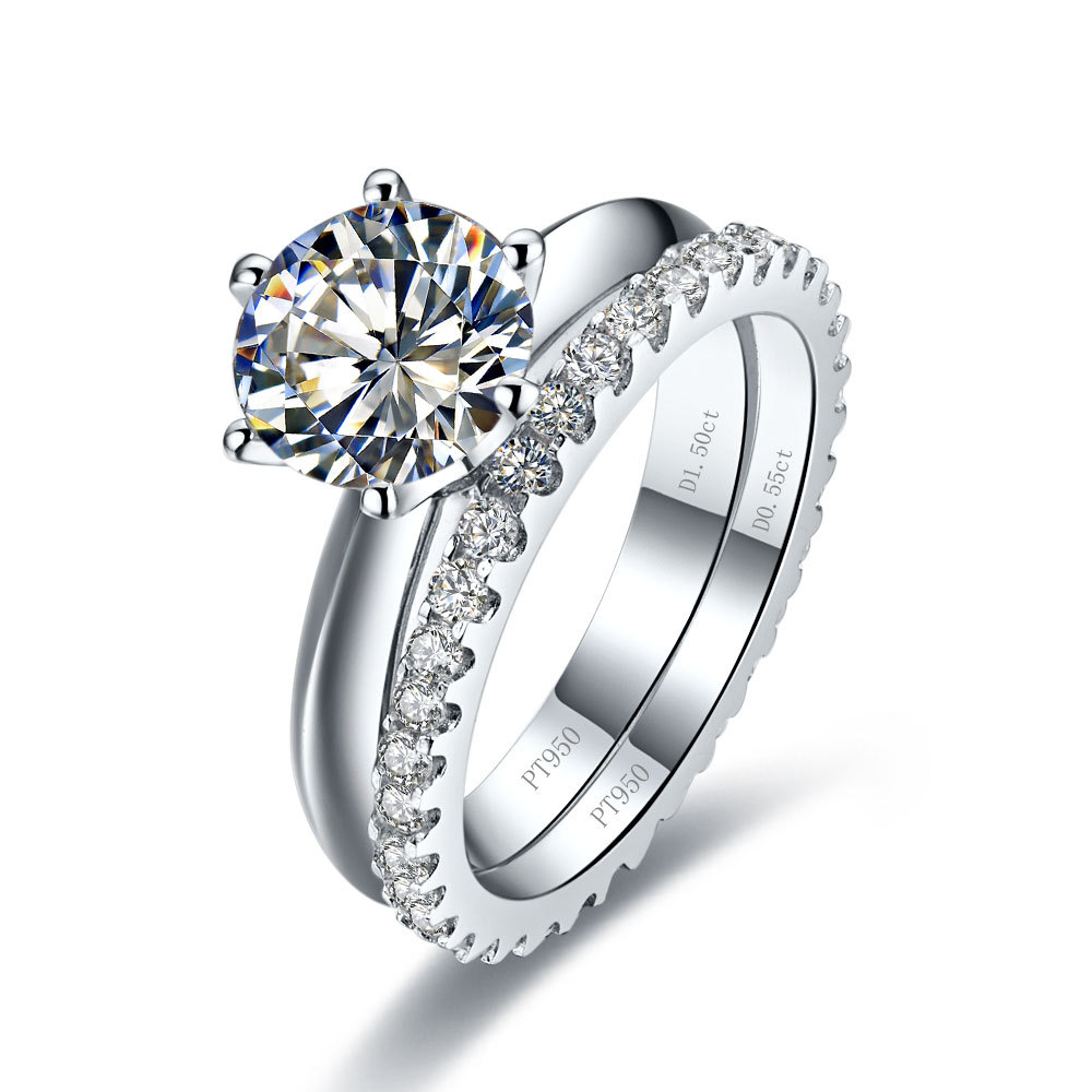 Online Shop 1ct Synthetic Diamonds Engagement Ring With Band